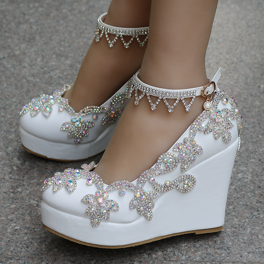 Crystal Queen Rhinestone Pumps Sweet Luxury Platform Wedges  Wedding Shoes Party Ankle Strap High Heels Women  Platform Shoes