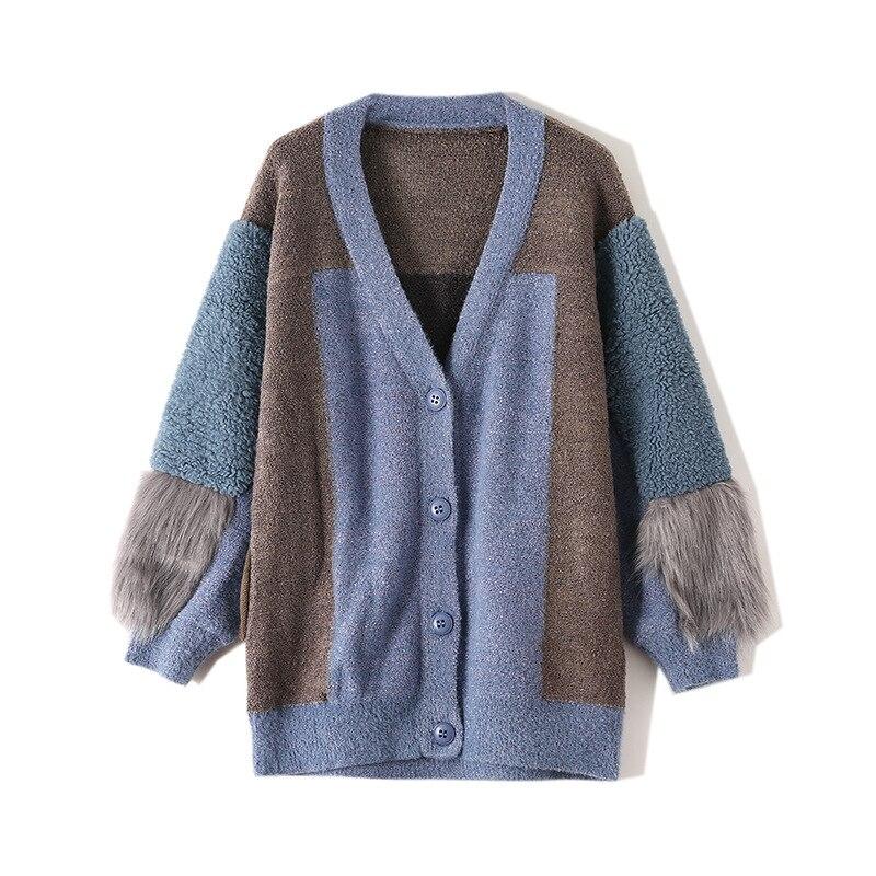 2019 automne hiver Cardigans femmes vêtements couleur fausse fourrure Patchwork à manches longues tricoté Long chandail haut décontracté vêtements d'extérieur TA1099