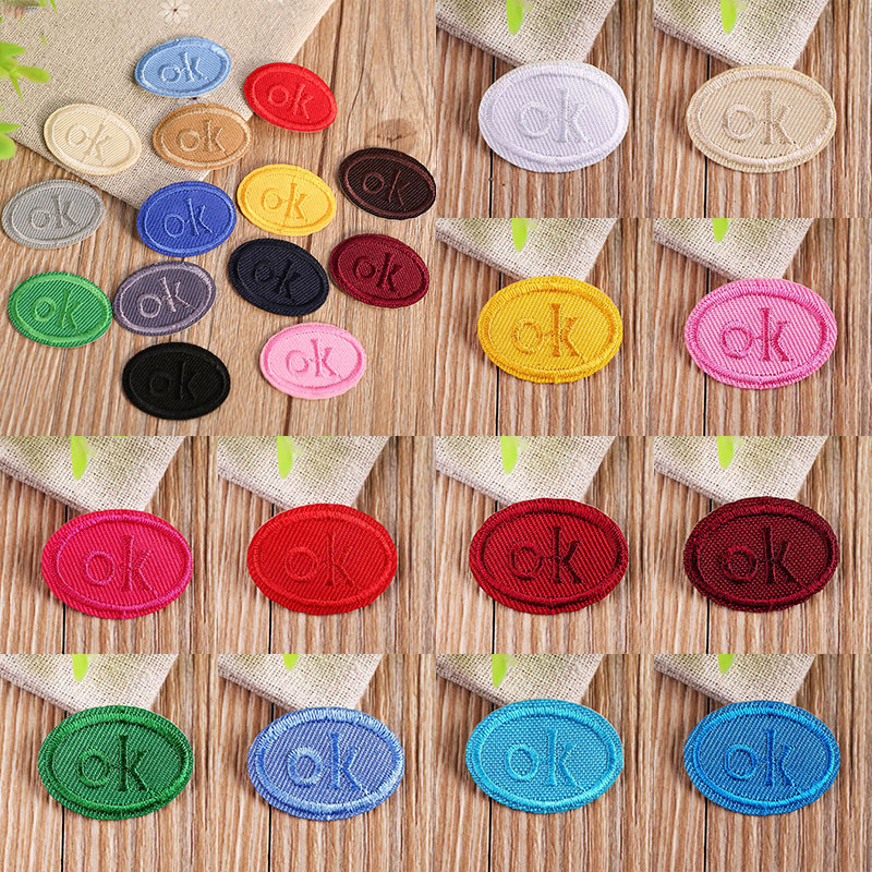 Multicolor OK Oval Embroidery Patches For Clothing DIY Stripes  Sticker Clothes Letters Heat Transfers Iron On Badges Decoration