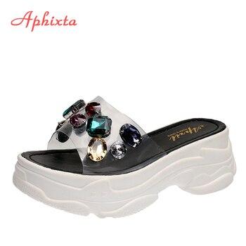 Aphixta Platform Rhinestone Sandals Slippers 6cm Height Increasing Slides Transparent Light Ladies Wedge Summer Beach - discount item  35% OFF Women's Shoes