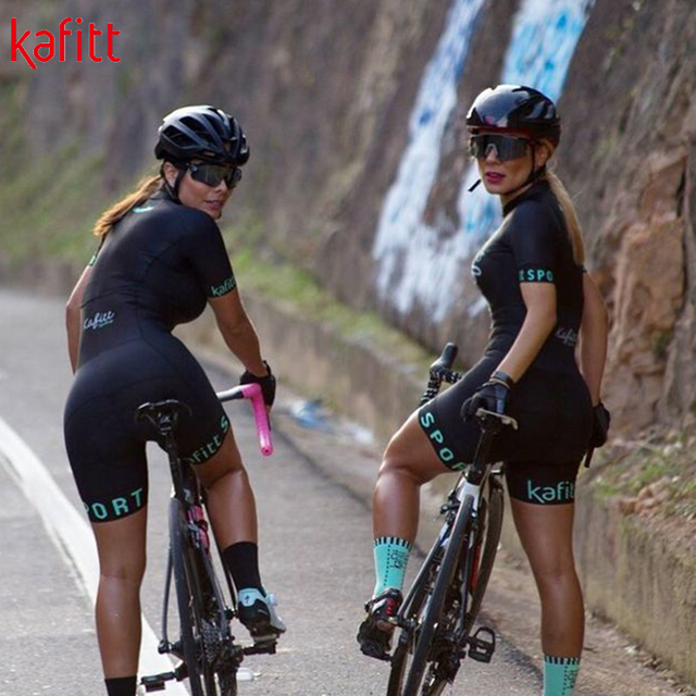 Kafit verão novo de manga curta triathlon esportes ciclismo macacão roupa ciclismo feminino macacão ir shorts terno 3