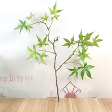 Artificial Plastic Green Maple Leaf Plants Fake Leaves Garden Shrubs Grass Bushes Faux Home Outdoor Decoration