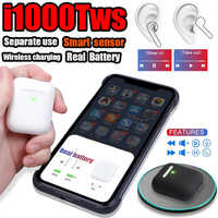 i1000 TWS Sensor Earbuds Air2 pop up Separate use bluetooth earphone QI Wireless Charging PK w1 H1 i10 i60 i30 i80 i500 i200 tws