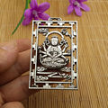 Китай coleccionable antiguo tallado de plata Miao Maitreya mil brazos  guanyin Buda colgante воротник de metal artesanatias