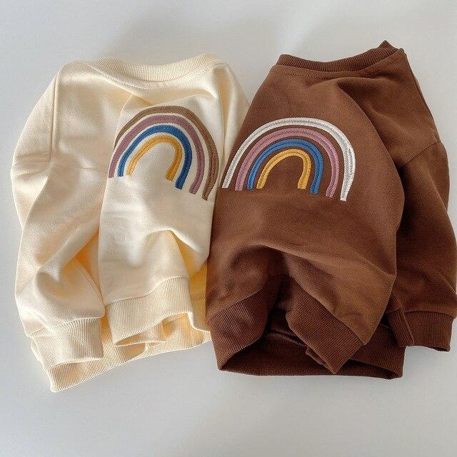 Autumn Baby Girls Embroidery Rainbow Sweatshirts Long Sleeve Tops Kids Toddler Boys Pullover Sweatshirt Rainbow T-shirt Clothes 2