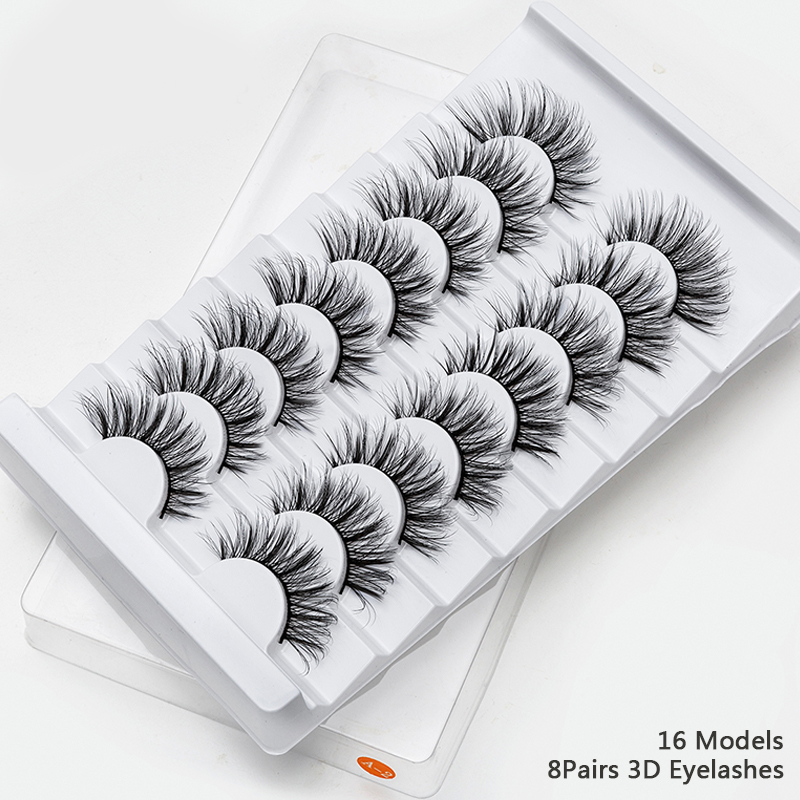 Image 2 - 2/4/8/10 Pairs Lashes 3D Mink Eyelashes Natural Long /Thick False Eyelashes Handmade lashes Makeup Extension Eyelashes-in False Eyelashes from Beauty & Health