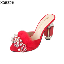Womens Summer Shoes Crystal Red fur Sandals Wedding 2019 Luxury Brand Ladies Stripper Open Toe High Heels Woman Size US 11