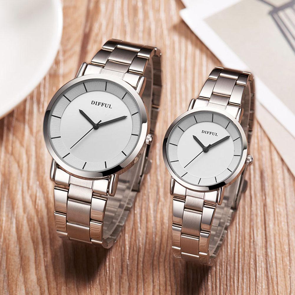 Fashion Simple Men Women Stainless Steel Band Round Dial Analog Fashion Quartz Wrist Watch Gift Lovers Couple Zegarek Damski