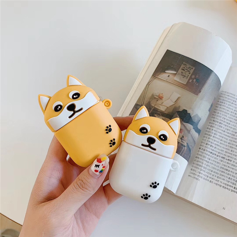 Cute Case for AirPods 2 Silicone Bluetooth Earphone Case for Airpods Cartoon Protective Cover 3D Teacup Dogs Design Shiba Inu