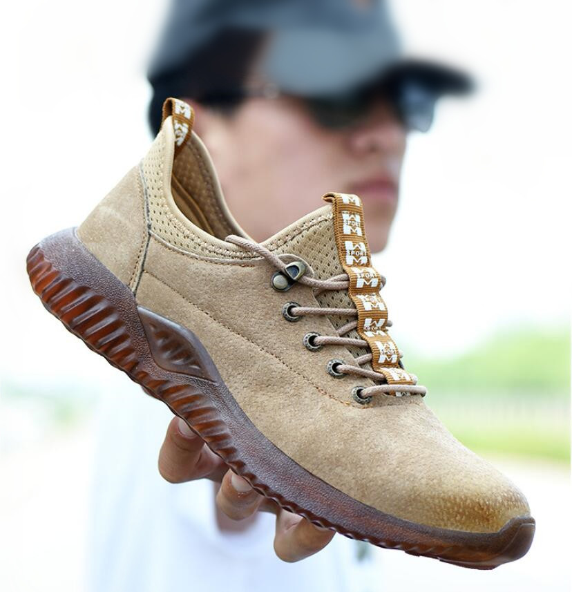 JX703 Dropshipping Indestructible Shoes Men Steel Toe Cap Safty Shoes Genuine Leather Anti-smashing Anti-piercing Work Boots