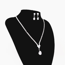 Exquisite Crystal Bridal Jewelry Set Rhinestone Water Drop Necklace Earrings Women Wedding Jewelry Set Attending Party Banquet faux crystal wedding jewelry set