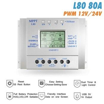 MPPT 60A 80A Solar Charge Controller 12V 24V Regulador Solar for Max 48V Input Solar Photovoltaic System Charging USB 5V Output 1