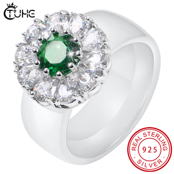 Luxury Real Solid 925 Sterling Silver Ring 8mm Ceramic Rings Green White Zircon Wedding Jewelry Rings Engagement For Women moonso a pair luxury genuine 925 sterling silver rings for women wedding engagement jewelry lr236s