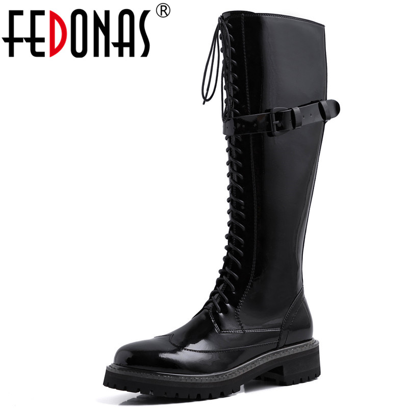 FEDONAS Side Zipper Women Genuine Leather Knee High Boots Fashion Party Night Club Shoes Woman Winter Warm Long Buckle Boots