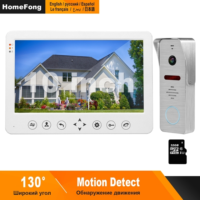 HomeFong Video Intercom 10 zoll Video Tür Telefon 1200TVL Weitwinkel Kamera Video Türklingel Haus Intercom Access Control System