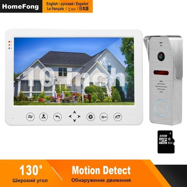 Homefong interfone de vídeo de 10 polegadas, vídeo de 1200tvl, câmera grande angular, campainha, sistema de controle de acesso