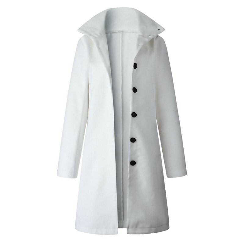Button Standing Collar White Long Coat Women Autumn Winter Hot Selling 19 Solid Jacket Female Casual Long Sleeve Female Coats 8