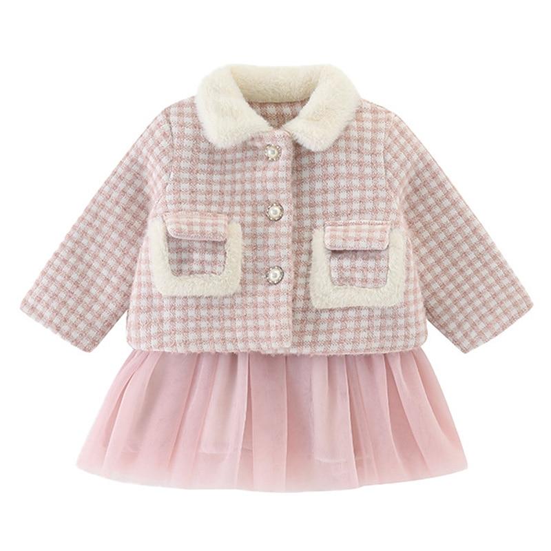 Bebê menina roupas do bebê menina outono e inverno vestido ternos do bebê menina xadrez tutu saia gola de pele quente jaqueta princesa saia terno