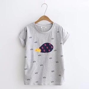 Сексуальная рубашка с короткими рукавами, мультяшный дизайн, свежая тонкая футболка, свитшот для отдыха, с круглым вырезом, женские летние т...