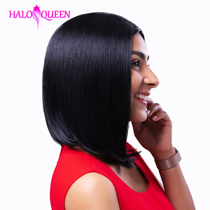HALOQUEEN Remy Straight Short Human Hair Wigs 13x4 Lace Frontal Wig Straight Bob Lace Front Wigs Hair Lace Front Human Hair Wig(China)