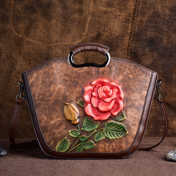 Natural Skin Vintage Women Shoulder Tote Bags Leisure Messenger Flower Pattern Top Handle Bag Female Genuine Leather Handbag