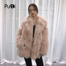 Pudi TX223902 women casual Real fox fur coat jacket overcoat lapel collar lady fashion winter warm genuine outwear