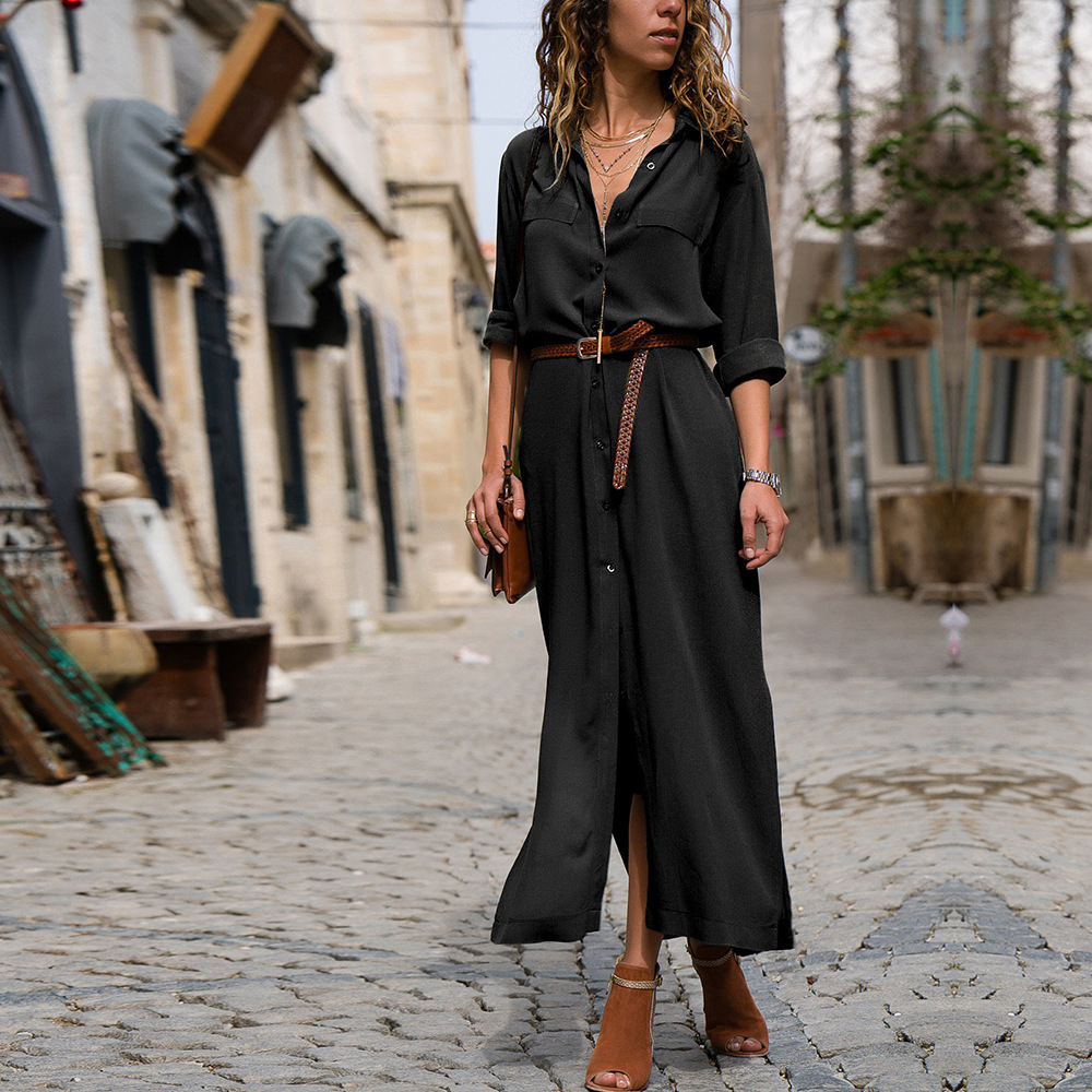 <font><b>EBay</b></font> Hot Selling 2019 Autumn And Winter Fashion Loose-Fit Long-Sleeve Expandable Shirt Dress Women image