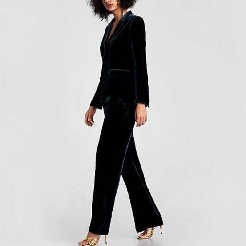 Eine Taste Samt Frauen Mantel Herbst und Winter Schwarz Große Größe OL Büro Dunkelgrün Blazer und Jacken Americanas Mujer 2019