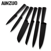 AINZUO Chef knife 3cr13 Stainless Steel Kitchen Knife Set Fruit Utility Santoku Slicing Bread Accessories