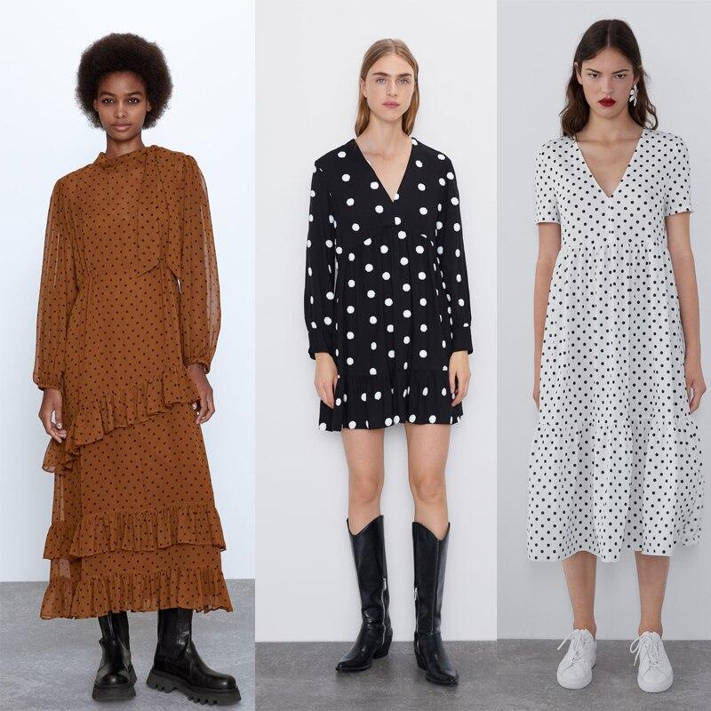 ZA 2019 Fashion Vintage Dot Dress Women Autumn Trendy Casual Loose Multiclolor Dot Dress Female Fall Dress Wholesale Outwear