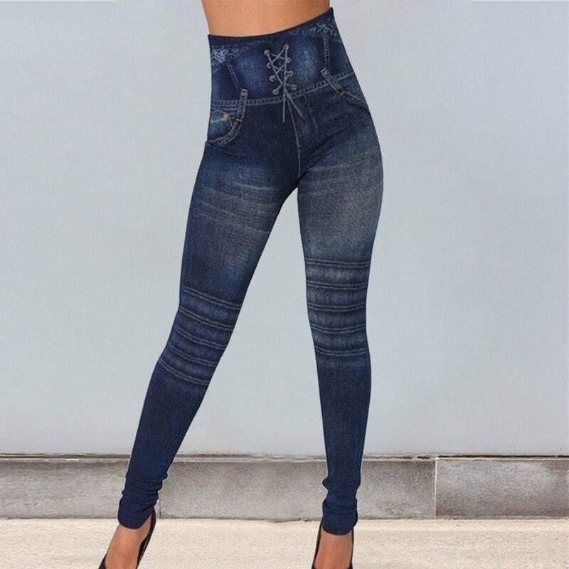 PUIMENTIUA 2019 Women Jeans Legging Blue Striped Print Legging Women Imitation Jean Slim Fitness Legging Elastic Seamless Jeans