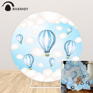 Allenjoy hot air balloon round photography background holy communion sky clouds photo studio backdrop party photocall photophone