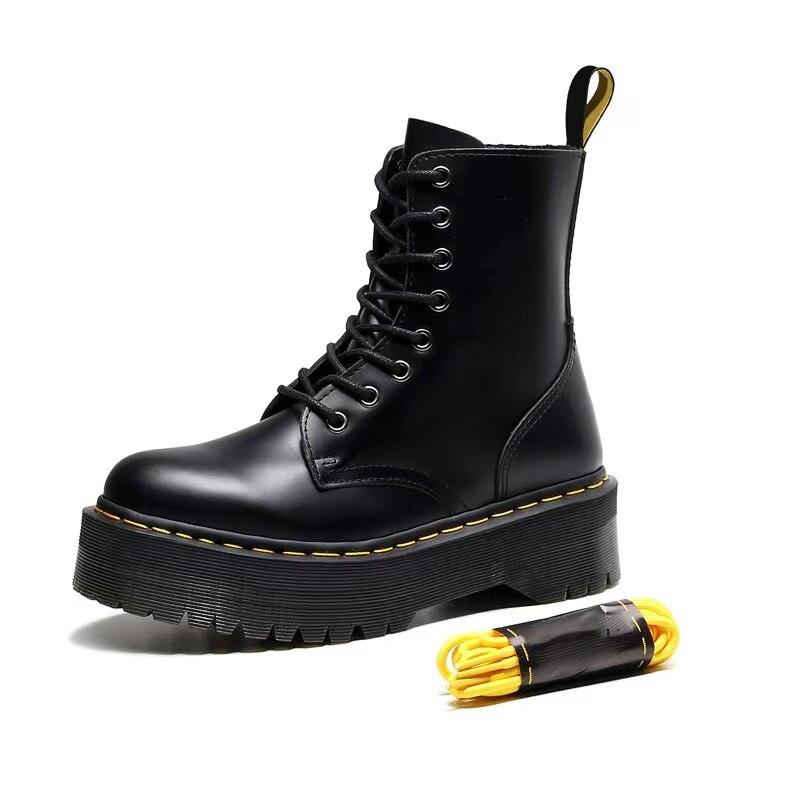 Plataforma martens botas femininas sapatos 2020 novo couro preto ankle boots feminino punk sapatos de fundo grosso da motocicleta botas de mujer