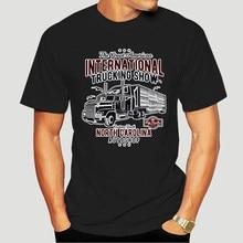 Camiseta divertante para hombre, camiseta negra holgada Con estampado de Uomo Maglietta Cotone, Camion grande afinado, 5816A