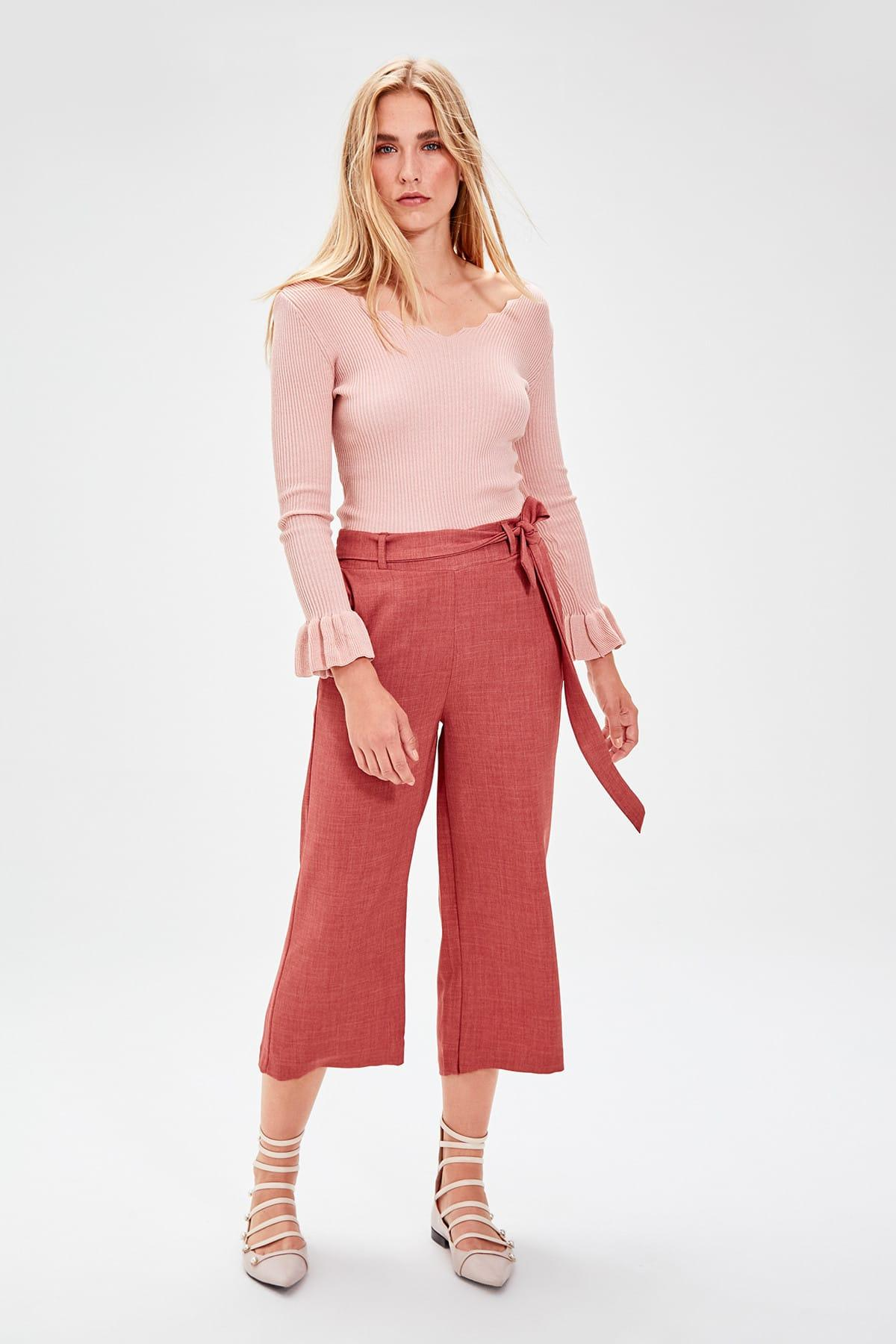 Trendyol Women High Waisted Flare Pants With Lace Tile TWOAW20PL0047