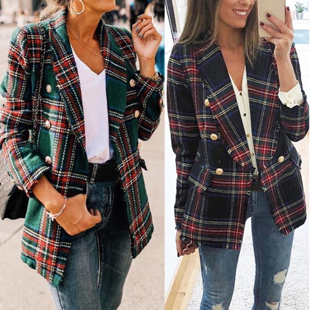 S-2XL Office Lady Double Side Woolen Cardigan Plaid Double-breasted Blazer Jacket Fashion Plaid Women Blazer Clothing 2019 Hot