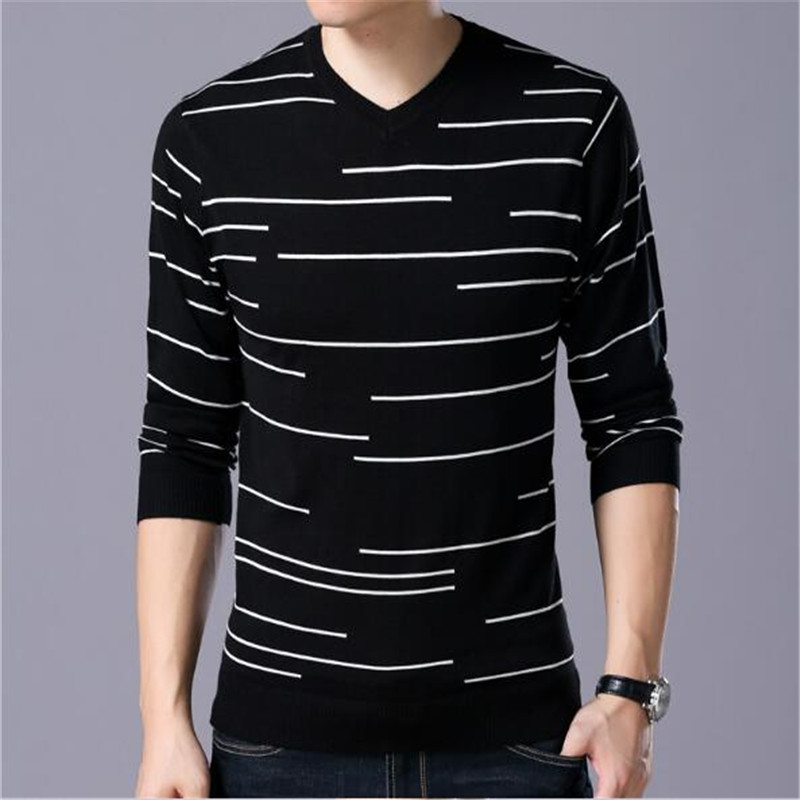 ZNG 2019 Autumn   New Men's Casual Knitted Sweater Fashion Stripes Printed Slim V-neck Sweater Male Brand Clothes