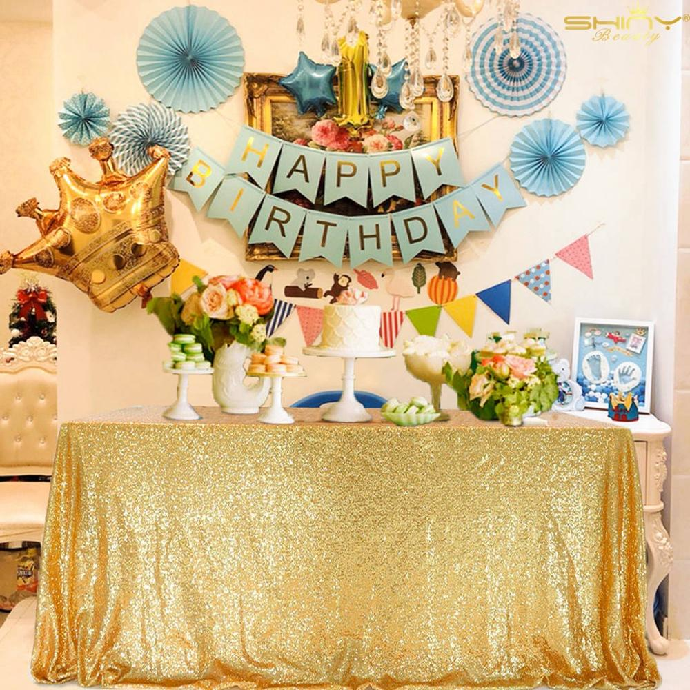 Gold Sequin Tablecloth Wedding Party Sequin Tablecloth Shiny Gold Classy And Elegant Tablecloth For Romantic Event Or Banquet-M