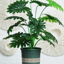 Искусственные растения, зеленые Пальмовые Листья Monstera, украшение для дома, сада, гостиной, спальни, балкона, Тропическое пластиковое искусс...