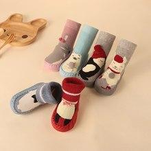 Малыш домашний носки обувь новорожденный ребенок носки зима толстый махровый хлопок ребенок девочка носок с резиной подошвы младенец животное забавный носок