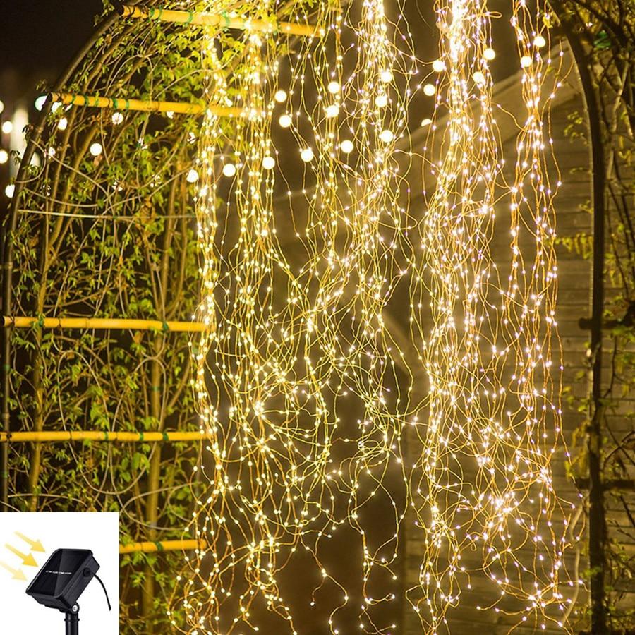 50-500 led ao ar livre lâmpada solar luzes da corda de fadas à prova dwaterproof água festa de natal garland casa decoração diy jardim luz