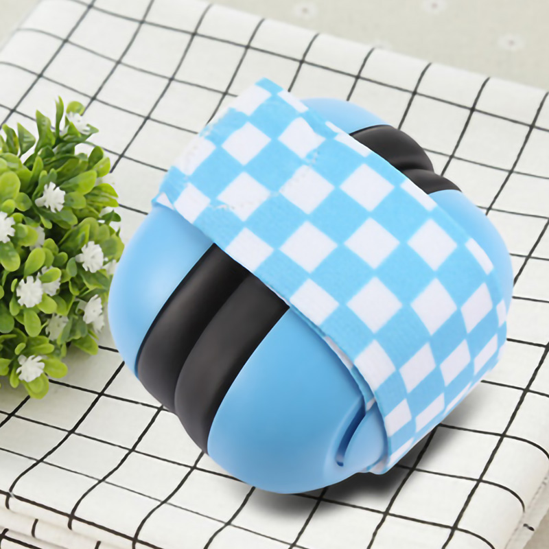 1 Pair Baby Anti-noise Earmuffs Elastic Strap Ear Protection Baby Earmuffs Soundproof Hearing Headphone Ear Protector-Blue