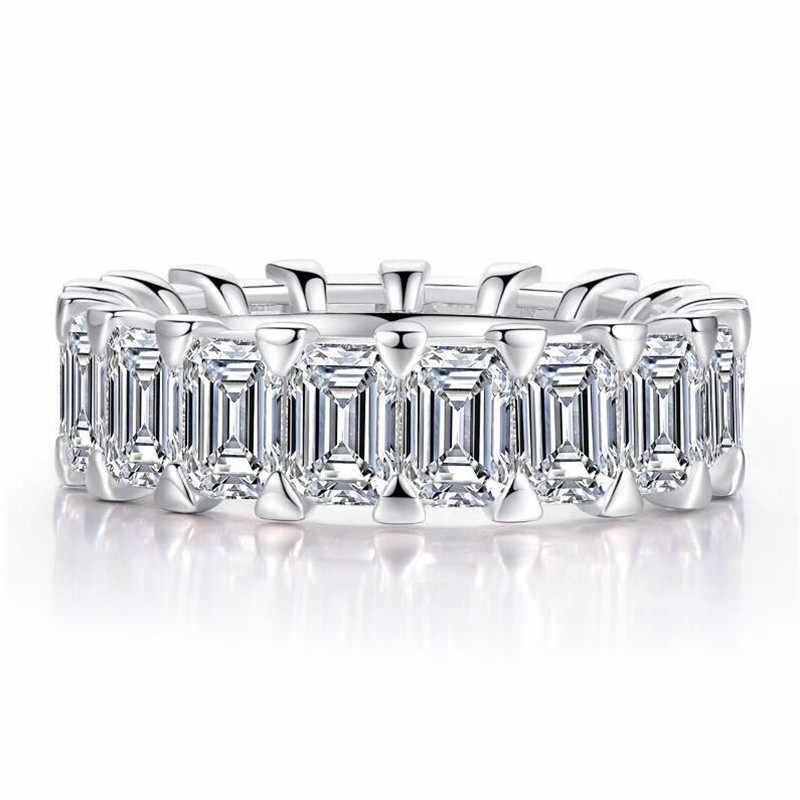 Vecalon женское кольцо вечности обещающее кольцо из стерлингового серебра 925 пробы ювелирное emealon cut AAAAA обручальное кольцо с фианитами кольца для женщин вечерние Bijou