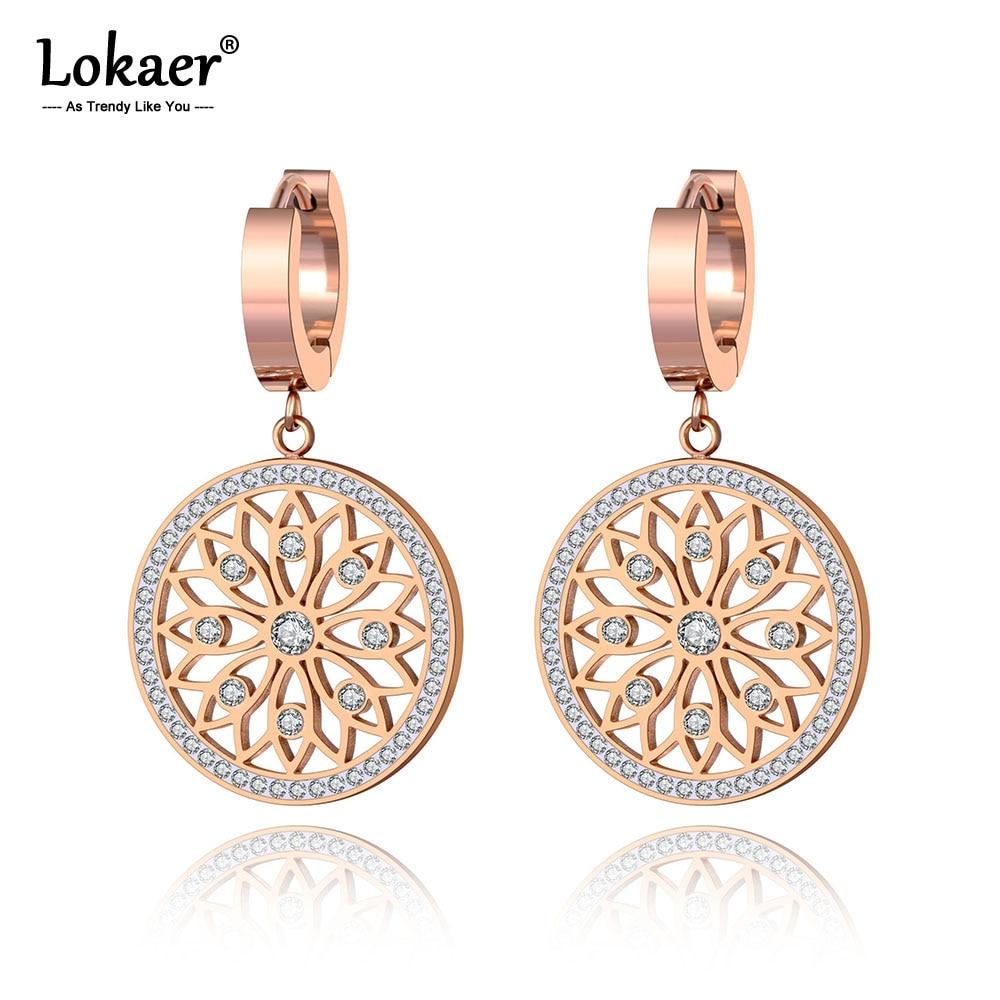 Lokaer Original Design Stainless Steel Flower Rattan Disc Earrings Jewelry Trendy CZ Crystal Hoop Earrings For Women Girl E19269