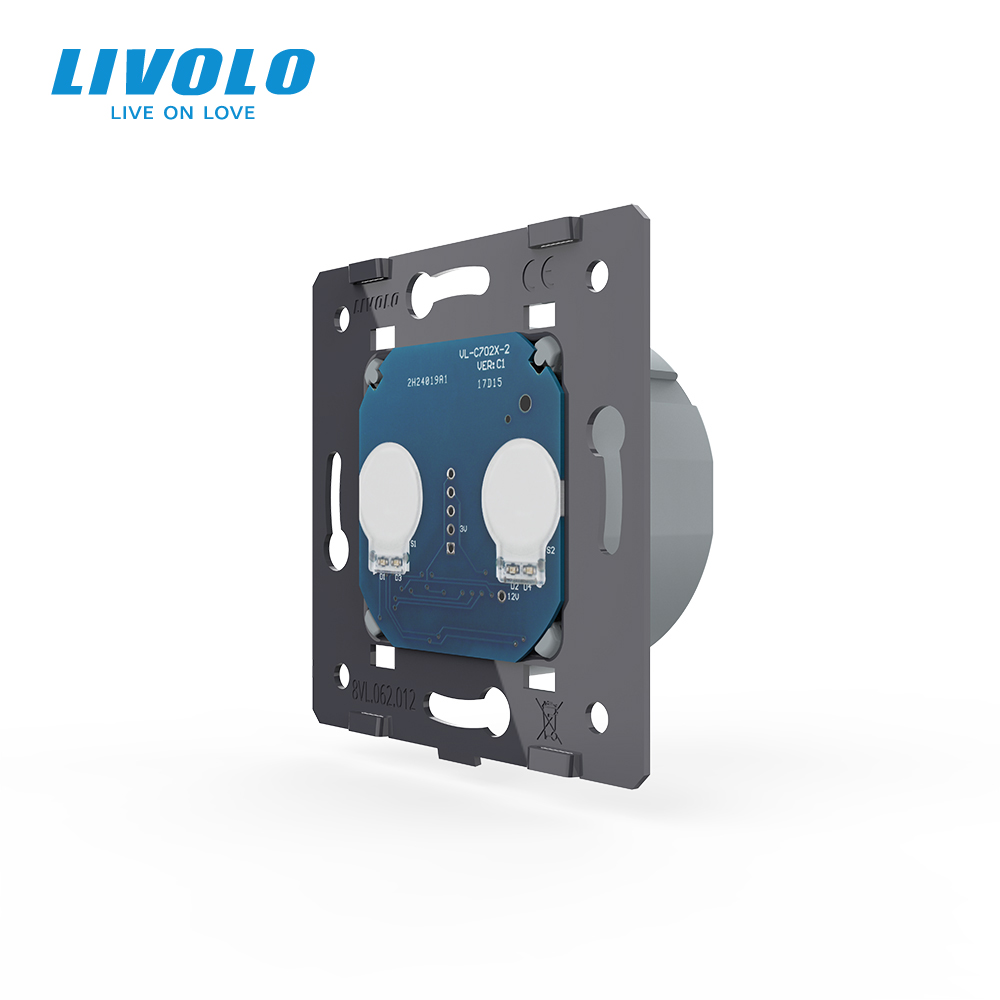 LIVOLO EU Standard AC 220 250V  The Base Of  Wall Light Touch Screen Switch 2Gang 1Way VL-C702