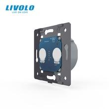Livolo eu標準、ac 220 〜 250vのベースウォールライトタッチスクリーンスイッチ、 2 ギャング 1Way、VL C702