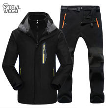 TRVLWEGO Waterproof Ski Suit Men Jacket Ski Pants Outing Male Winter Outdoor Skiing Snow Snowboard Fleece Jacket Pants Sets недорого
