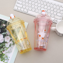 Creative cartoon plastic cup with lid  cute Ps environmental safety material With scale