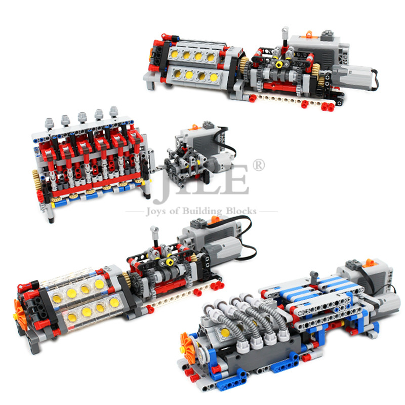 Moc Technology Mechanical Group V16 Engine Speeds Sequential Gearbox Model DIY Building Blocks Brick Compatible with Prower Set