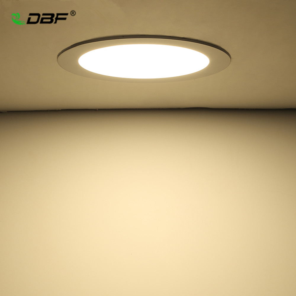 [DBF]Round/Square LED Panel Light Recessed Kitchen Bathroom Ceiling Lamp 85-265V Recessed LED Downlight Warm/Cold/Natural White